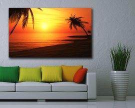 stampa su tela-tramonto sulle palme