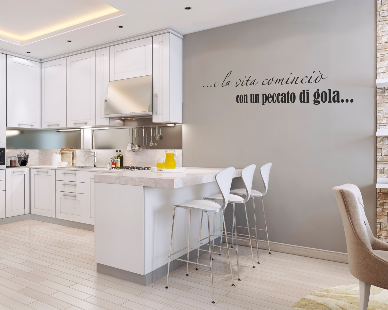Frase adesiva cucina e la vita cominci food adesivo for Adesivi x cucina