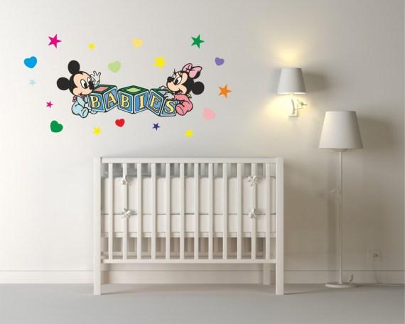 adesivo murale-baby topolino e minnie