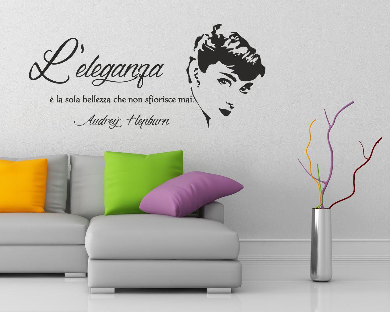 Adesivo Da Parete Frase Audrey Hepburn L Eleganza è La Sola Bellezza Adesivo Murale