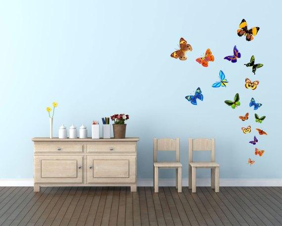 adesivo murale-farfalle variopinte