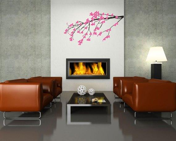 adesivo murale-rami fioriti