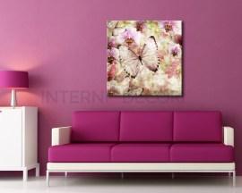 Farfalle vintage e fiori-stampa su tela