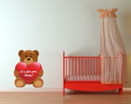 adesivo murale-orsetto con cuore