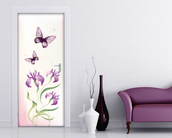 Adesivo per porte-fiori rosa e farfalle