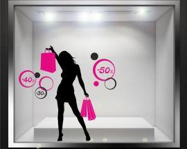 Vetrofania-ragazza fashion e cerchi
