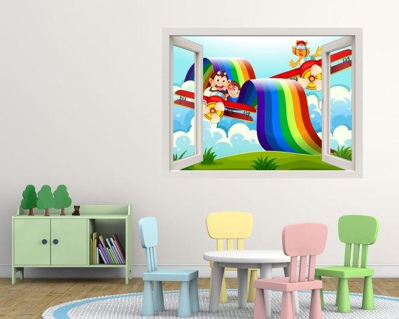 Finestra adesiva-volando sull'arcobaleno
