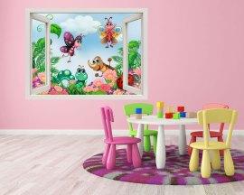 Insetti colorati nel prato-finestra adesiva