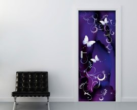 Adesivo per porte-delicate farfalle con decori