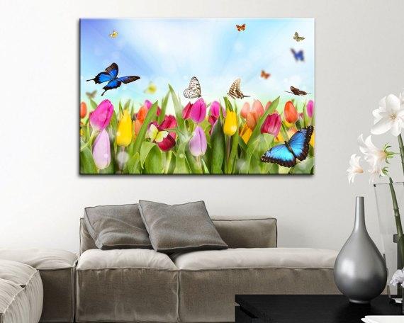 Stampa su tela-tulipani e farfalle