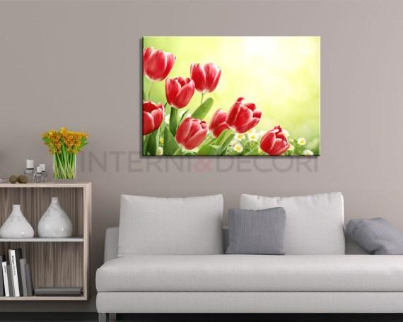 Stampa su tela-tulipani rossi al vento