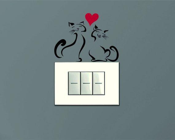 Mini sticker murale-mici felici con cuore