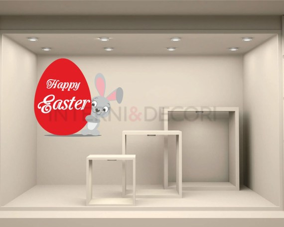 Adesivo per vetrine-Sweet bunny with egg-vetrofania
