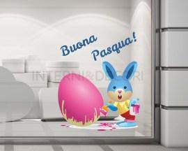 Coniglietto che dipinge-adesivo per vetrina