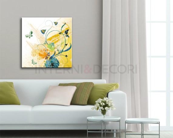 Farfalle tra decori e foglie-stampa su tela