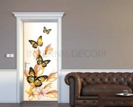 Adesivo per porte-farfalle e fiori gialli