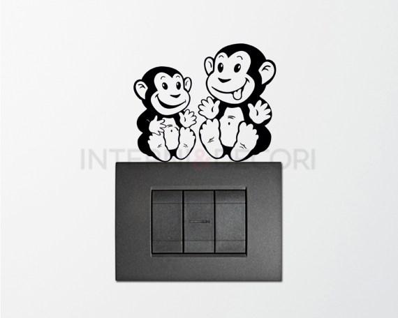 Mini sticker murale-scimmiette dispettose
