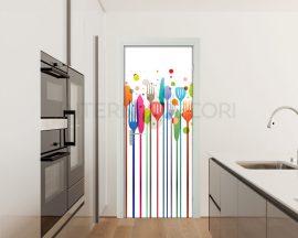 Adesivo per porte-posate colorate-adesivo per ristorante
