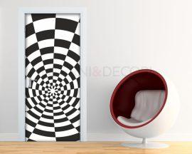 Adesivo per porte-illusione in bianco e nero