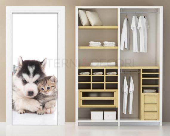 Adesivo per porte-cane con gattino