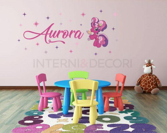 Wall sticker Cheerilee con nome-adesivo murale personalizzato