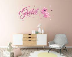 Adesivo personalizzato-wall sticker Pinkie Pie con nome