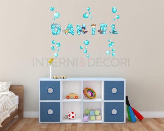 """Adesivo murale con nome-lettere adesive da muro """"alfabeto con bolle"""""""