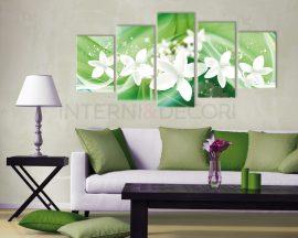 Stampa su tela-fiori su sfondo verde-quadro moderno