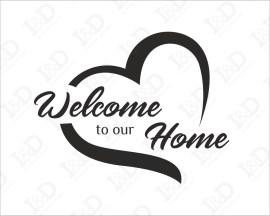 Adesivo da parete casa-Welcome to our home con cuore-adesivo murale