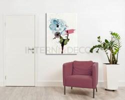 Stampa su tela-ritratto con farfalla e fiori-quadro moderno donna