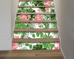 Decorazione per scale-foglie e fiori esotici-adesivo per scale