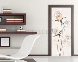 Rose delicate-decoro porta fiori-Adesivo per porte