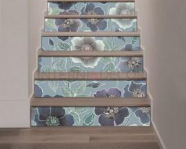 Decorazione per scale-sfondo con fiori-adesivo per scale