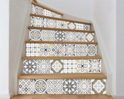 Decorazione per scale-gray and yellow stairs-adesivo per scale