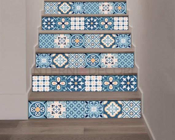Decorazione per scale-fantasie blu-adesivo per scale