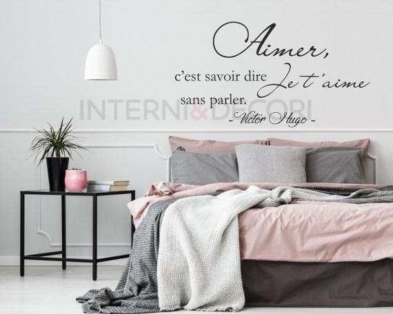 Adesivo murale-Aimer c'est savoir dire...-frase murale adesiva Victor Hugo