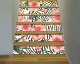 Decorazione per scale-fiori tropicali e foglie di palma-adesivo per scale