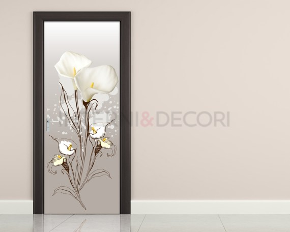 Adesivo per porte-mazzo di calle bianche-decoro porta fiori