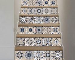 Decorazione per scale-beige and blue stairs-adesivo per scale