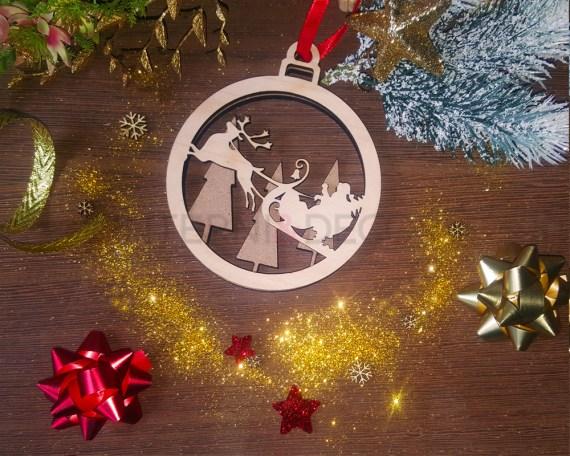 Decorazione legno a taglio laser-slitta di Babbo Natale