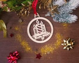 Decorazione legno a taglio laser-candele di Natale