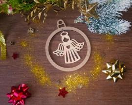 Decorazione legno a taglio laser-angelo con cuore