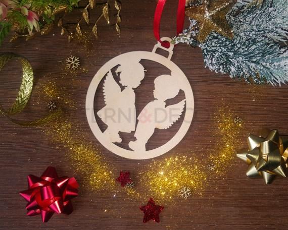 Decorazione legno a taglio laser-angeli natalizi