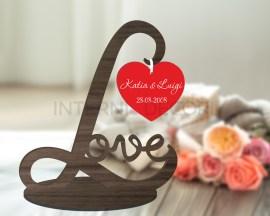 Decorazioni a taglio laser-cuore rosso con nomi-scritta love in legno