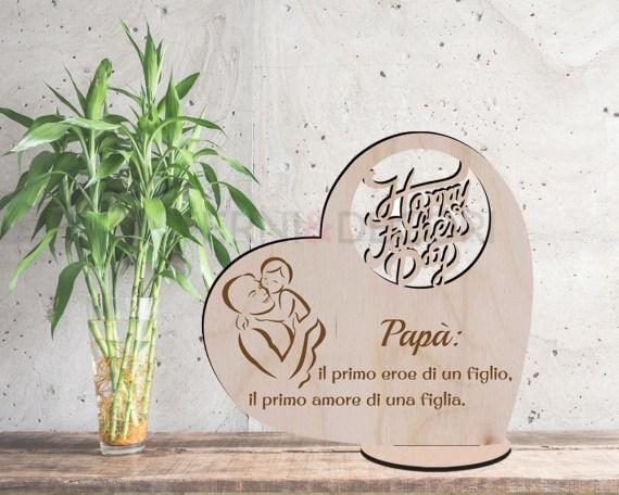 Decorazioni a taglio laser-happy father's day-cuore in legno