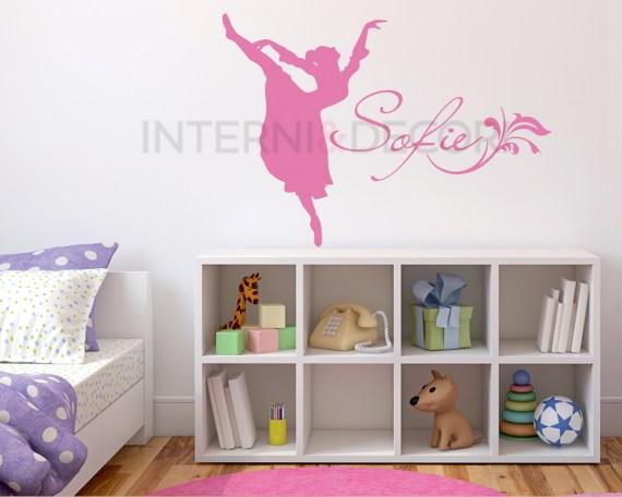 Adesivo con nome-la mia piccola ballerina-adesivo murale
