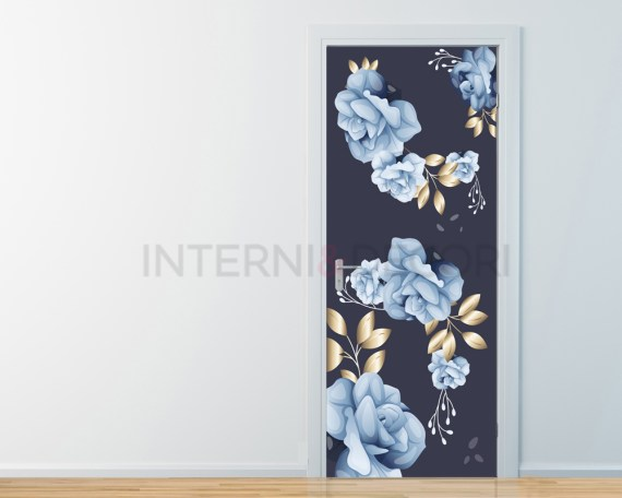 Fiori con foglie d'oro-adesivo per porte