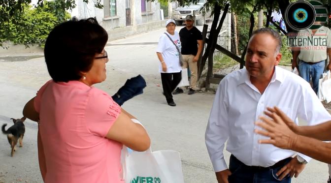 CONTINUA JAVIER TREVIÑO RECORRIDO POR LA COLONIA MARTINEZ DOMINGUEZ, EN MONTEMORELOS.