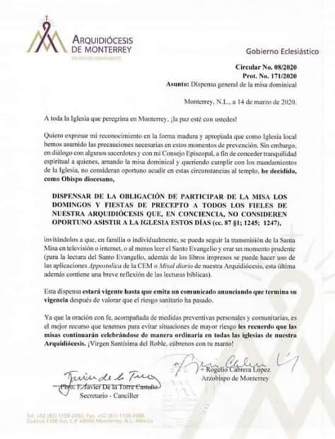 SE DISPENSA LA OBLIGACIÓN DE PARTICIPAR DE LA MISA LOS DOMINGOS Y FIESTAS DE PRECEPTO. ARQUIDIÓCESIS DE MONTERREY.