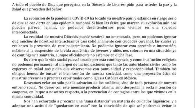 MENSAJE DEL OBISPO DE LINARES CON MOTIVO DE LA CONTINGENCIA COVID-19